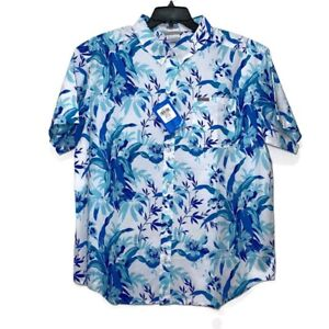 Columbia Men's Collared Button Down Floral Blue  Tropical Print Short Sleeve  XL