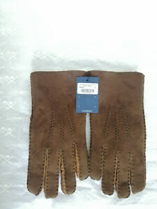 Hackett London Mens Gloves Suede leather size M Colour Brown