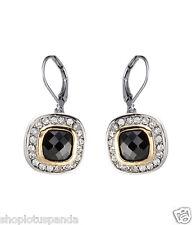 CLASSIC 18kt White Gold EP Black Onyx CZ Crystal Petite Dangle Earrings