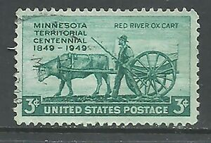 1949 USA United States #981 Farming Minnesota Pioneer and Red River Oxcart (a1)