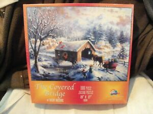 NEW SEALED - SunsOut - THE COVERED BRIDGE-1000 Pc Puzzle - Nicky Boehme - 20x27