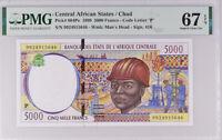 Central African States Chad 5000 Francs 1999 P 604Pe Superb Gem UNC PMG 67 EPQ