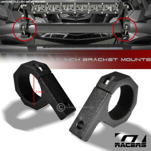 "Texture Blk 2"" Tube Bull Bar Roll Cage Mount Bracket Clamps For Led Light Fr G13"