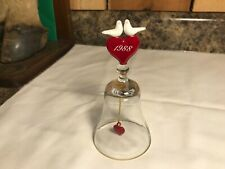 Vintage 1988 Clear Glass Bell with Heart and Love Birds on Top