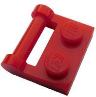 Lego 10 rote Platten 1x2 mit Halter (48336) Neu seitliche Stange Griff Platten