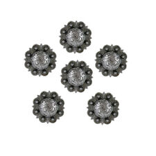 Set of 6 WESTERN SADDLE HORSE TACK ANTIQUE ENGRAVED BERRY CONCHOS screw back