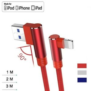 90°Degree Braided Charging Data Sync USB Fast Charger Cable Lead For iPhone iPad