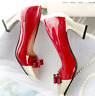 Fashion Women Square Toe Bowtie Pumps Med Block Heel Evening Dress Casual Shoes