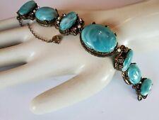 Vintage Selro? Peking Glass Bracelet. Beautiful large cabochon stones. Filigree.