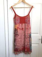 Save the Queen Slip Dress Size S Italian Orange 90s Style Retro Statement Design