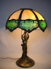 "Antique 8 Panel Figural Slag Glass Table Lamp Green & Caramel 21"" Tall Miller"