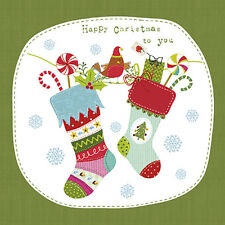 Christmas 20 Paper Lunch Napkins FUNNY X-MAS SOCKS Green Santa Claus Gift