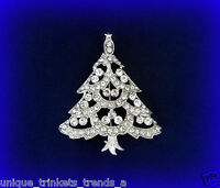 CLEAR  WHITE CHRISTMAS TREE RHINESTONE CRYSTAL SILVER BROOCH PIN GIFT FOR WOMEN