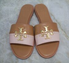 Tory Burch Everly Slide Sandals Tan Pink Leather Sz 8.5 New In Box FREE SHIPPING