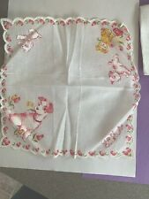 Vintage Fox Terrier Dog Puppy Dime Store Handkerchief Cotton Pink Tulips Linen