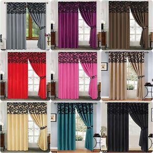 Window Curtains Damask Half Flock Pencil Pleat Fully Lined bedroom Living Door
