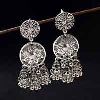 Women Flower Carved Tassel Bells Drop Gypsy Indian Jhumka Ethnic Earrings Gift