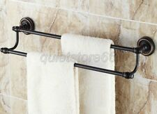 Oil Rubbed Brass Finish Wall Mounted Bathroom Black Double Towel Rail Bar qba211