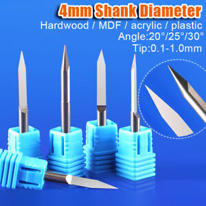 20-30° Flat Wood Milling Cutter 4mm Shank CNC Engraving Machine Carving Knife