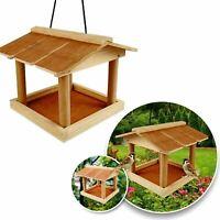 HANGING WOODEN BIRD TABLE WILD FEEDING STATION GARDEN TREE HANGING FEEDER UK