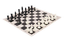 Tournament Chess Pieces and Chess Board Combo - SOLID PLASTIC - Black & Buff Reg