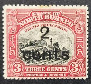 "North Borneo 1916, ""Jesselton Railway Stn."" 2c. schd. on 3c.black & rose-lake mh"