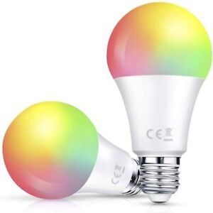 Smart WiFi Light Bulb 2 Pack, A19 LED Dimmable Multicolored RGB + W, E26 Base Ty