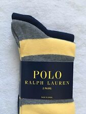 Polo Ralph Lauren Socks~2 Pack~Cotton Rugby Lt Grey/Yellow Stripe/Solid Navy~NWT