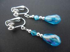 Pendientes de bisutería pendientes largos color principal azul de cristal