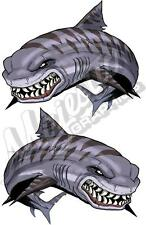 TIGER SHARK x 2 - Mirrored Pair 330mm x 275mm - BOAT CAR DECALS