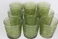 Vintage 9 Avocado Green Soreno Pattern Juice Drinking Glasses Anchor Hocking