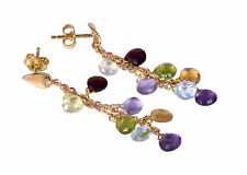 GOLD EARRINGS 18 KT. (750‰) WITH AMETHYST, BLUE TOPAZ, QUARTZ AND CITRINE