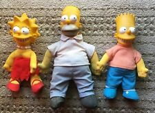 3 - SIMPSONS 1990 HOMER BART LISA Plush Dolls Hard plastic heads cloth bodies