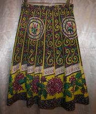 Vintage 1950s Rockabilly Madalyn Miller Skirt Black Geometric Floral Print Usa S