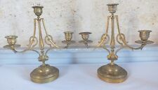 paire bougeoirs candélabres bronze à 3 lumières fin 19ème candlestick