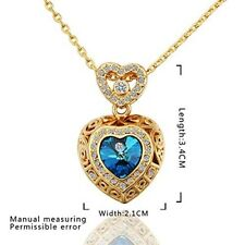 Women Necklace Valentines Day Gift For Her Heart-Shape Blue Fashon Jewelry Stone