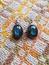 Beautiful Elegant Labradorite Hallmark 925 Sterling Silver Hook Dangle Earrings