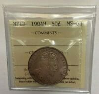 Newfoundland 1904 ICCS Graded 50 Cent Coin Half Dollar MP88