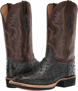 Lucchese Cliff Full Quill Ostrich Boots CX1118.W8, Chocolate/Tan, Size 13D, New