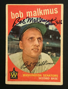 Bob Malkmus Senators signed 1959 Topps baseball card #151 Auto Autograph