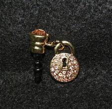 1 Cellphone 3.5mm Rhinestone Dust Plug Steampunk Lock Gold