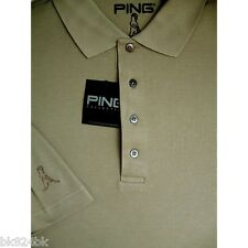 PING Golf Collection Mens Textured Cotton Jacquard Serengeti Polo Shirt Khaki L