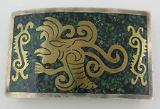 """Taxco Mexico Sterling Silver Aztec Themed Western Belt Buckle - 3.5"""" x 2"""""""
