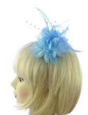 bleu aqua plume et dentelle perles fascinateur bandeau pour mariages