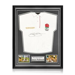 Jason Robinson Signed England Rugby Jersey. Superior Frame