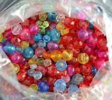 Lot 9 oz Assorted Acrylic Plastic Beads 4-12 mm, Most 6 mm Faceted Novelty Round