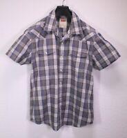 HB276 Levis Herren Hemd Shirt grau weiß kariert Gr. L modern fit Kurzarm Taschen