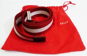 Bally Red & White Striped Canvas Caleiro (AGC1) Belt size 85/34