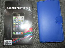 QUALITY IPHONE 5 5C 5S ROYAL BLUE SIDE FLIP CASE FREE SCREEN PROTECTOR CARD SLOT