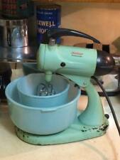 Vintage Blue Sunbeam Mixer and matching blue Glasbake bowls